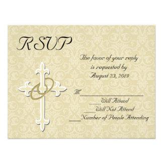 Golden Rings Christian Wedding RSVP Card Custom Invitations