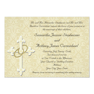 Golden Rings with Cross, Elegant Christian Love 13 Cm X 18 Cm Invitation Card