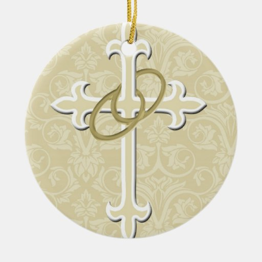 Golden Rings with Cross, Elegant Christian Love Round Ceramic Decoration