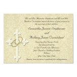 Golden Rings with Cross, Elegant Christian Love 13 Cm X 18 Cm Invitation Card
