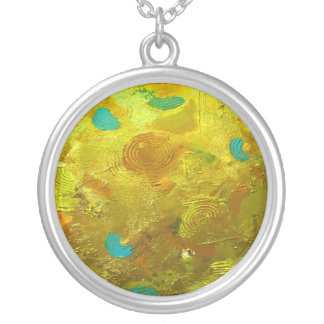 Golden Rings with Turquoise Silver Plated Necklace