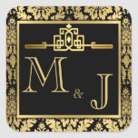 Golden Romance Art Deco Envelope Seal Square Sticker