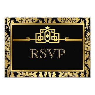 Golden Romance Art Deco RSVP Card V2 9 Cm X 13 Cm Invitation Card