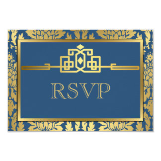 Golden Romance Art Deco RSVP Card V2   Teal 9 Cm X 13 Cm Invitation Card