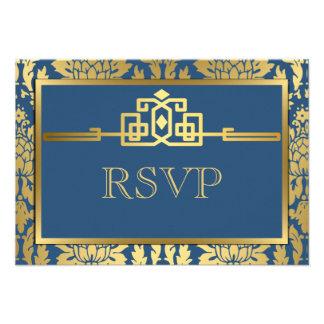 Golden Romance Art Deco RSVP Card V2   Teal