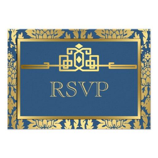 Golden Romance Art Deco RSVP Card V2 | Teal