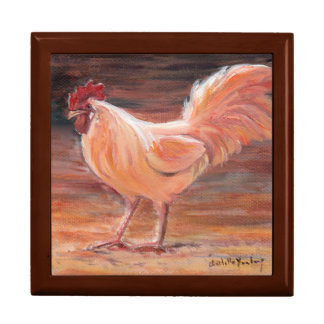 Golden Rooster Bird Art Tile Gift Box