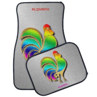 Golden Rooster Bird With Rainbow Feathers And Tail Car Mat