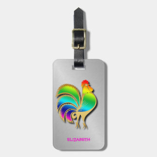 Golden Rooster Bird With Rainbow Feathers And Tail Luggage Tag
