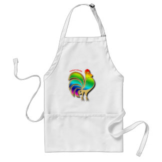 Golden Rooster Bird With Rainbow Feathers And Tail Standard Apron