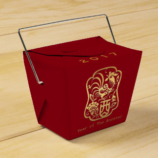 Golden Rooster Year 2017 Red Favor Box Wedding Favour Box
