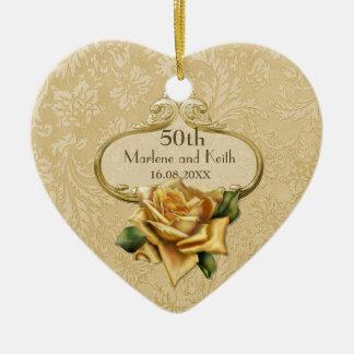 Golden Rose 50th Wedding Anniversary Ceramic Heart Decoration