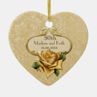 Golden Rose 50th Wedding Anniversary Christmas Ornament