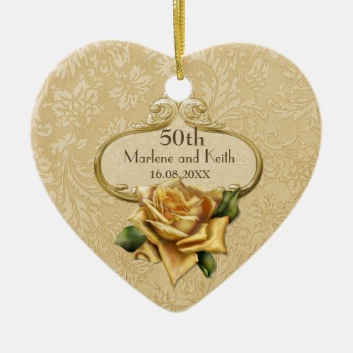 Golden Rose 50th Wedding Anniversary Christmas Tree Ornaments
