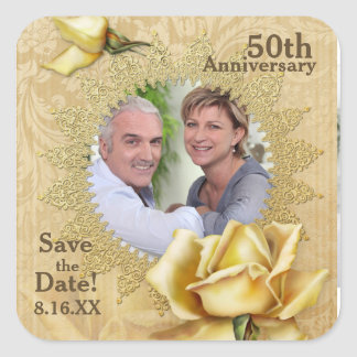 Golden Rose Damask 50th Wedding Anniversary Square Stickers