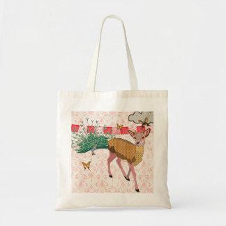 Golden Rose Deer & Peacock Damask Bag