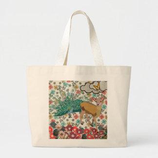 Golden Rose Deer & Peacock Floral Bag