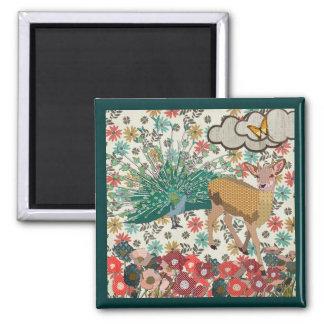 Golden Rose Deer & Peacock Floral Magnet