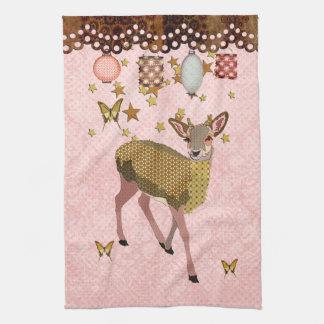 Golden Rose Deer Starry Night MoJo Kitch Hand Towel