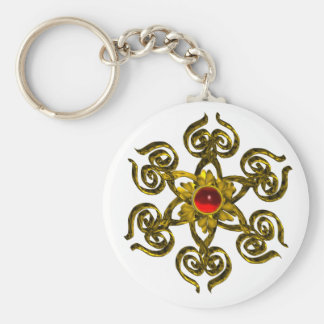 GOLDEN ROSE RUBY KEYCHAINS
