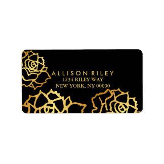 Golden Roses Address Label - Black