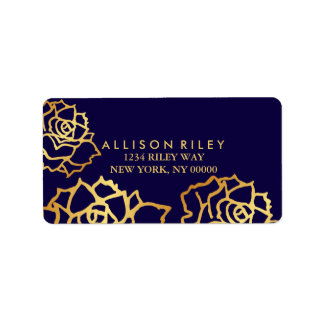 Golden Roses Address Label - Blue