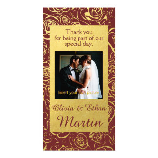 Golden Roses and Burgundy Wedding Photo Card