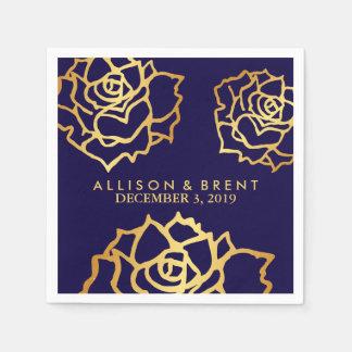 Golden Roses Napkin - Blue Paper Napkins