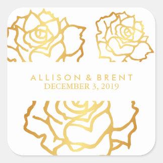 Golden Roses Sticker - White