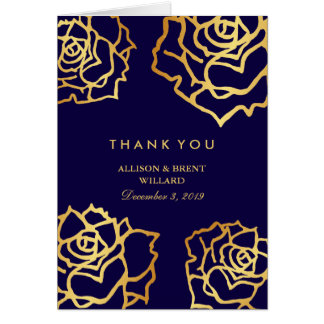 Golden Roses Thank You Card - Blue