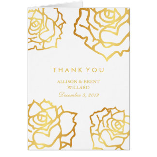 Golden Roses Thank You Card - White