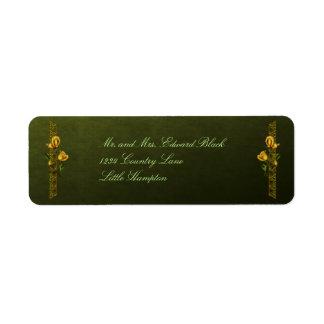 Golden Roses Wedding Suite Return Address Label
