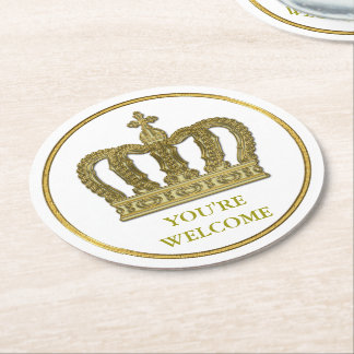 Golden Royal Crown II + your backgr. & ideas Round Paper Coaster