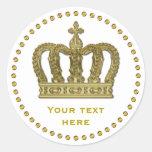 Golden Royal Crown II + your backgr. & ideas Round Sticker