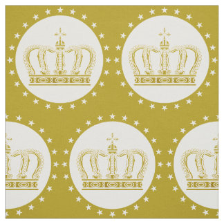 Golden Royal Crown & Stars + your backgr. & ideas Fabric