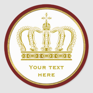 Golden Royal Crown + your backgr. & ideas Classic Round Sticker