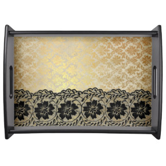 Golden Royal Lace Serving Tray