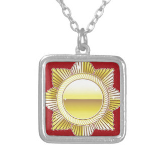 Golden Royal Medal Blank Vector Square Pendant Necklace