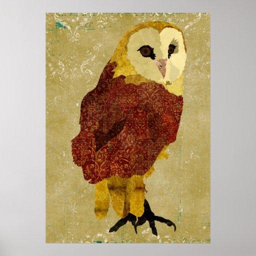 Golden Ruby Owl Art Poster
