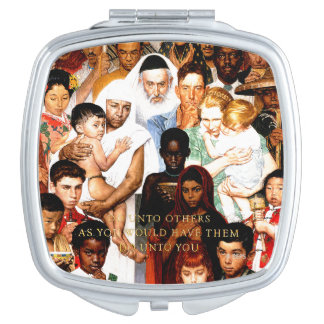 Golden Rule (Do unto others) by Norman Rockwell Mirror For Makeup
