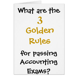 Golden Rules for Passing Accounting exams Card