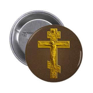 Golden Russian orthodox cross 6 Cm Round Badge