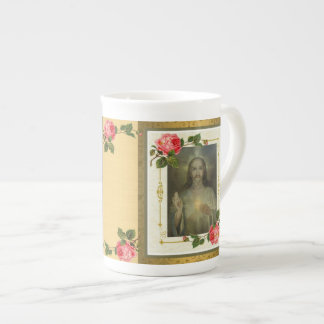Golden Sacred Heart of Jesus Bone China Mug GIFT