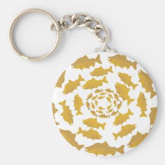 Golden Salmon Circle Basic Round Button Key Ring