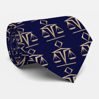 Golden Scales of Justice on Almost Navy Blue Tie