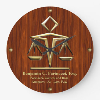 Golden Scales of Justice on Cherry (Personalised) Large Clock