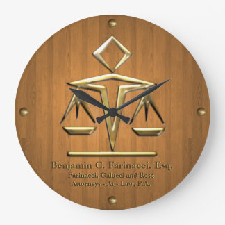 Golden Scales of Justice on Teak (Personalized) Large Clock