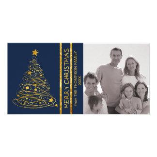 Golden Scribble Christmas Tree Photo Card -indigo