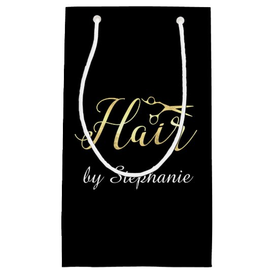 Golden Script Scissors Hairstylist Hair Salon Small Gift Bag