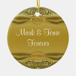 Golden Scrolls 50th Wedding Anniversary Christmas Ornament